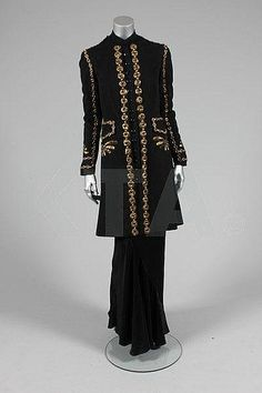 Elsa Schiaparelli couture embroidered 'Persian Prince' black wool evening coat, Autumn-Winter, 1937-8.
