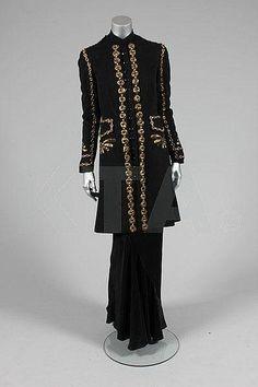 Elsa Schiaparelli couture embroidered 'Persian Prince' black wool evening coat, Autumn-Winter, 1937-8.