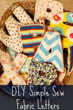 Simple Sew Fabric Letters. Sew a set of cute letters with leftover fabrics around your home! They are perfect for babies, toddlers and preschool aged kids to star learning.