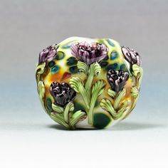 Handmade Lampwork Focal Bead Purple Peony SRA by by HallockGlass