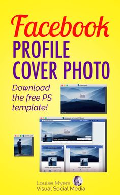 Facebook marketing tips: Make your FB Personal Profile Cover Photo size look good on both desktop and mobile with this FREE Photoshop template! Design with previews so it'll display right on all devices. #facebook #facebookmarketing #graphicdesign #photoshop #smm
