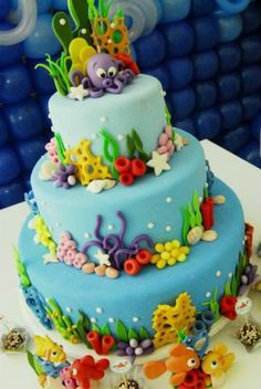 Nemo Cake Decorations Cake Cup Cakes Birthday Backgrounds Little Mermaids Angler Fish Fours Cupcake Cakes Cupcake Finding Dory Edible Cake Topper Food Cakes, Cupcake Cakes, Pretty Cakes, Cute Cakes, Bolo Fondant, Decors Pate A Sucre, Rodjendanske Torte, Ocean Cakes, Decoration Patisserie