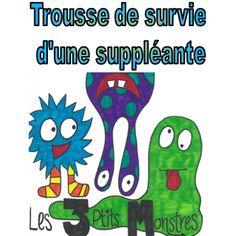 Trousse de survie d'une suppléante Teacher Resources, School Equipment, Classroom Management, Monsters, Satchel, Survival, Custom In