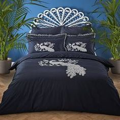 Jan Constantine Oriental Peacock Embroidered Cotton Duvet Cover and Pillowcase Set 100 Cotton Duvet Covers, King Size Duvet Covers, Duvet Cover Sets, Quilt Bedding, Linen Bedding, Bedding Sets, Bed Linen, Peacock Bedding, Contemporary Duvet Covers