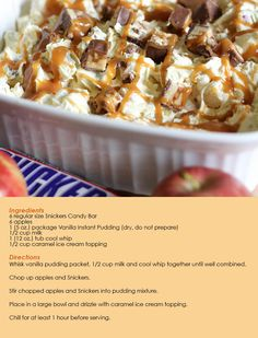 Snickers Caramel Apple Salad- mom used to make this when we were kids