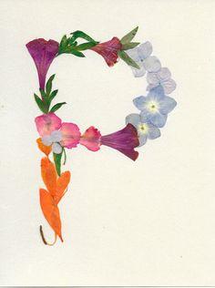 """Letter """"P"""" Monogram - Original Pressed Flower Art, Framed Art, Wall Art, Real flowers, Dried leaves"""