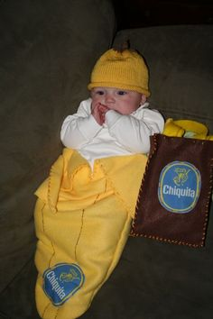 Ryderu0027s chiquita banana costume treat bag made by my sister-in-law Melissa (  sc 1 st  Pinterest & Everyone will go bananas over your little bundle in this too-cute ...