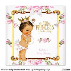 Princess Baby Shower Pink White Floral Brunette Invitation