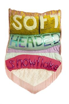 ALT CAPS exhibition by Natalie Baxter - troll comments sewn into soft banners. Textile Sculpture, Soft Sculpture, Sculptures, Textiles, Textile Artists, Contemporary Artists, Textile Design, Fiber Art, Pop Culture