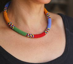 Colorful African Necklace, Rainbow Necklace, Multicolor Beadwork Necklace, Bead Crochet Necklace, Maasai Style Necklace MADE TO ORDER - Armband Ideen Crochet Necklace, Beaded Necklace, African Necklace, Bead Crochet Rope, Ethnic Jewelry, Strand Necklace, Fashion Necklace, Gifts For Women, Jewelry Necklaces