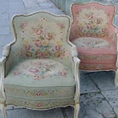pair of needlework chairs...one of these would be so pretty in my daughters room