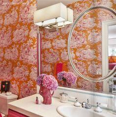 Frame treatment on mirror, from Toujours magazine via VT Interiors