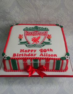 Liverpool FC birthday cake. By helen the cake lady