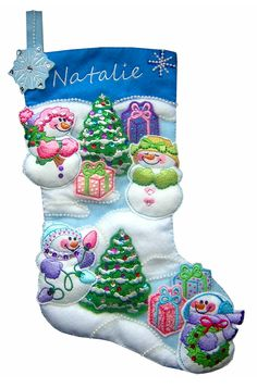 Snowman machine embroidery designs. Instructions for the Christmas stocking are included :)