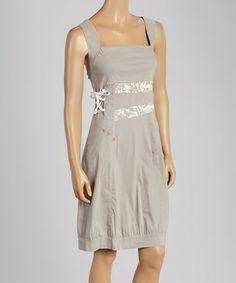 Another great find on #zulily! Beige Patchwork Sleeveless Dress by Dolcezza #zulilyfinds