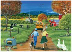 Not the best start to the school year when you miss the bus on the first day of school in this 1000 piece puzzle from Cobble Hill. Back To School Art, I Love School, First Day Of School, School Daze, School Times, School Memories, 5d Diamond Painting, Drawing Skills, Naive Art