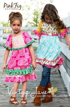 Pink Fig Vintage Jane Peasant Top  Dress Sewing Pattern, FREE SHIPPING