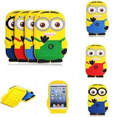 Cartoon iPad Mini 4 Cases Despicable Minion Silicone Rubber Case Cover Skin FOR iPad Mini 1 2 3 4 For Girls Despicable Minions, Ipad Mini Cases, 3d Cartoon, Ipad Tablet, Apple Products, Iphone 4s, Apple Ipad, Silicone Rubber, Cover
