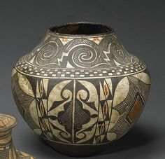 """An Acoma polychrome jar   Alternating rosettes and hatchured medallions in the main design panel, a checkered shoulder band and a pattern of interlocking scrolls overhead, """"July 1900 - Acoma"""" written in pencil three times on the sides"""