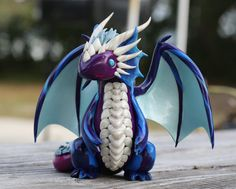 Feathered Arcane Dragon Blue Purple and by MiniMythicalMonsters