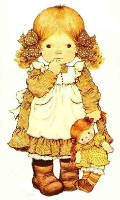 Iron-on transfer iron-on patch Sarah Kay doll 6 bright fabrics DIN DIN . Sarah Key, Holly Hobbie, Sarah Kay Imagenes, Vintage Pictures, Cute Pictures, Cute Illustration, Vintage Children, Cute Drawings, Cute Art