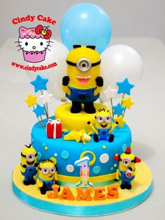 Minion Cake/Cookies/Cupcakes - Contact Hyderabad Cupcakes to order! Torta Minion, Bolo Minion, 4th Birthday Cakes, Minion Birthday, Baby Cakes, Pastel Minion, Minion Party Food, Bolos Cake Boss, Fondant Cakes