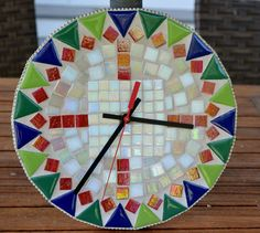 Mosaic Wall Clock 10-inch Round Handmade Glass Tiles by gcbmosaics