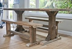 Beautiful project for our reclaimed barn beams and wood - with our gray chairs