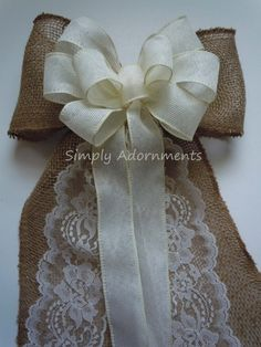 Vintage Burlap Lace Wedding Bow for Pews by Simply Adornments