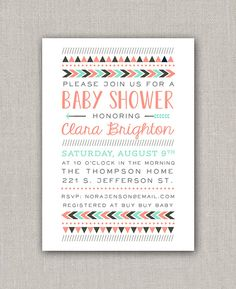 Aztec Baby Shower Invitation - mint & coral
