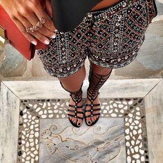 embellished shorts + gladiator sandals