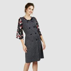 Double Breasted Button Front Ponte Dress
