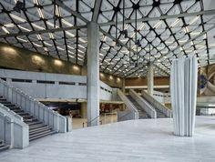 Dietrich I Untertrifaller, Bruno Klomfar · Strasbourg Convention Centre Strasbourg, Contemporary Architecture, Interior Architecture, Retail Branding, Column Covers, Steel Columns, Architecture Magazines, Convention Centre, Atrium