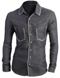 $3.99 Mens White Line Denim Style Shirt (AJ03)