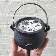 set in a cast iron cauldron - the ultimate spell candle. great for your altar or home, and once the wax has burned away, you are left with a sturdy little cauldron that. Soy Wax Candles, Candle Wax, Diy Candles, Making Candles, Unique Candles, Candle Shop, Candle Spells, Candle Magic, Creation Bougie