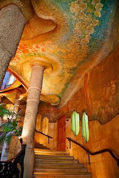 "High Quality Stock Photos of ""barcelona"" Interio stairway, Casa Mila (La Pedrera), UNESCO World Heritage Site, Barcelona<br> Organic Architecture, Beautiful Architecture, Beautiful Buildings, Art And Architecture, Architecture Details, Beautiful Places, Modern Buildings, La Pedrera, Casa Gaudi"