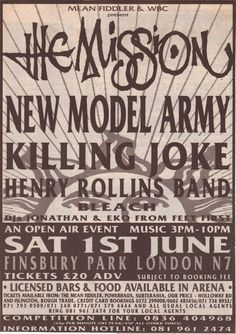 The Mission at Finsbury Park Jun with Killing Joke, New Model Army, Rollins Band, and Bleach Poster Gothic Rock Bands, Concert Posters, Music Posters, Rock Band Posters, Henry Rollins, Finsbury Park, Sisters Of Mercy, Upcoming Concerts, Music Flyer