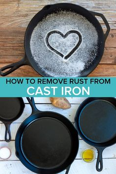 Learn the secrets to Removing Rust From Cast Iron without chemicals or harsh treatments. You'll also learn how to season, use, and LOVE cast iron skillets and dutch ovens. Cast iron is a wonderful non-toxic cooking tool that should be in every kitchen! How To Clean Rust, How To Remove Rust, How To Clean Iron, Removing Rust, How To Clean Skillet, Clean Cast Iron Skillet, Season Cast Iron Skillet, Cast Iron Dutch Oven, Deep Cleaning Tips