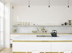 Bulthaup kitchen gorgeous single shelf design and marble worktop/splashback