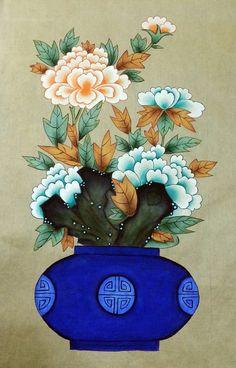 Asian Flowers, Japanese Flowers, Japanese Art, Art Painting Gallery, Art Gallery, Korean Crafts, Korean Painting, Art Japonais, Korean Art