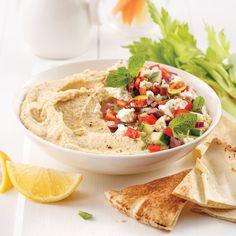 Houmous à la grecque - Je Cuisine Wontons, Chips, Vinaigrette, Buffet, Appetizers, Ethnic Recipes, Food, Pot Mason, Vegetarian Cooking
