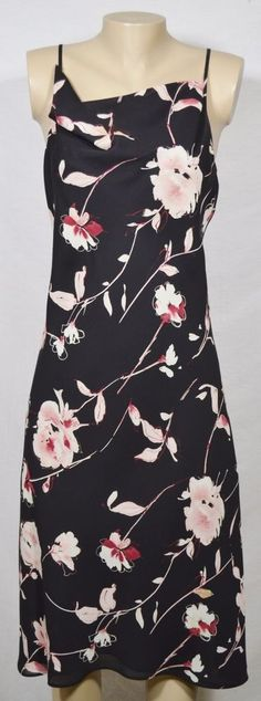 NEW YORK & COMPANY Black Floral Spaghetti Strap Dress 12 Draped Neckline Lined #NewYorkCompany #Sundress #Casual