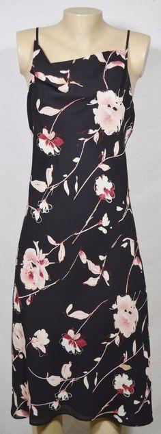 NEW YORK & COMPANY Black Floral Spaghetti Strap Dress 12 Draped Neckline Lined #NewYorkCompany #Sundress #Casual