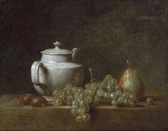 Nature morte avec théière, raisins, noix et poire, 1764 Jean-Baptiste-Simeon Chardin