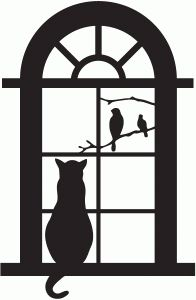 Silhouette Design Store - View Design #66601: kitty window