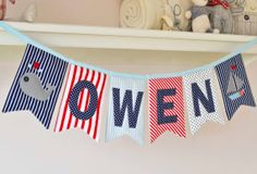 Personalised padded name bunting for boys - nautical - navy / red / blue / white on Etsy, $9.00