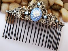 Baroque hair comb with ornates and rose cameo in blue silver, vintage hair comb, medieval hair comb, LARP, festive hair comb