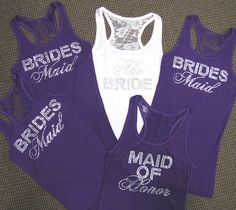 Lace Bridesmaid Tank Tops - Lace Bride Tank Top $23.95; racerback wedding party tanks; choose color and crystals
