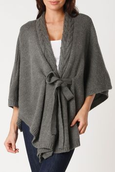 Grey Draped Belted Cardigan