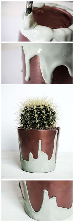 DIY Upcycling plant pot for a cactus with copper paint and mint icing || verschönerter Topf mit Kupfer und Farb-Glasur